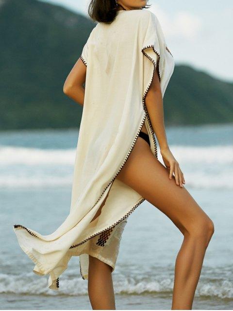 shop Embroidery V-Neck Cape Dress - APRICOT S Mobile