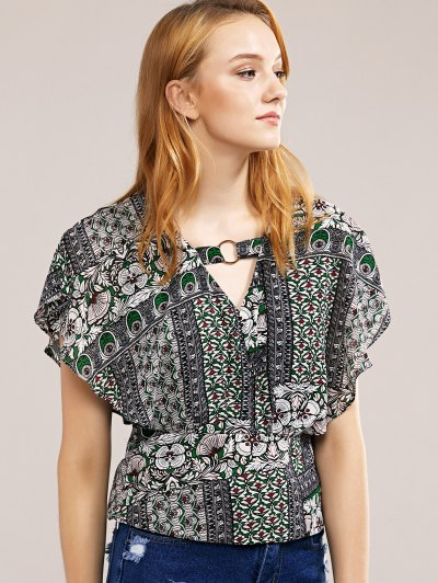 O-Ring V-Neck Chiffon Top от Zaful.com INT