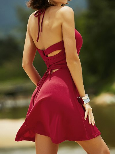 Cut Out Lace-Up Halter Sleeveless Dress - RED S Mobile