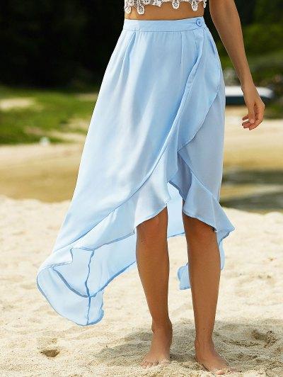 Blue Founce High Waist Light Skirt - LIGHT BLUE 2XL Mobile