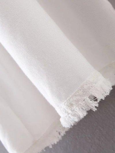 Collarless Fringe Drawstring Embroidered Waistcoat - WHITE M Mobile