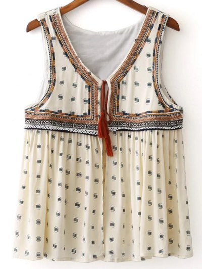 Delicate Embroidery Short Waistcoat - OFF-WHITE L Mobile