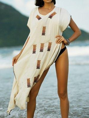 Embroidery V-Neck Cape Dress - Apricot