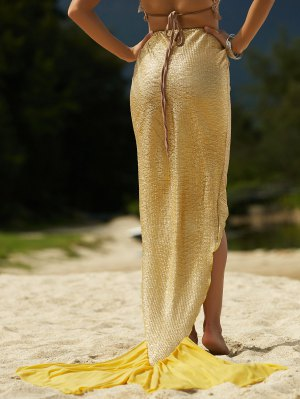 Solid Color High Low Hem Mermaid Skirt - Golden