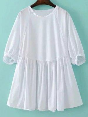 Round Neck Poplin Smock Dress - White