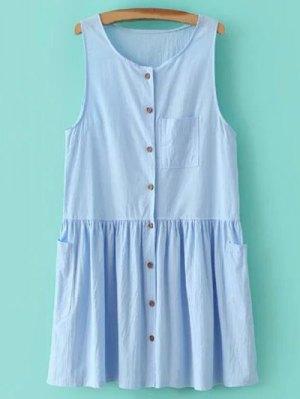 Smock Button Up Pocket Dress - Light Blue