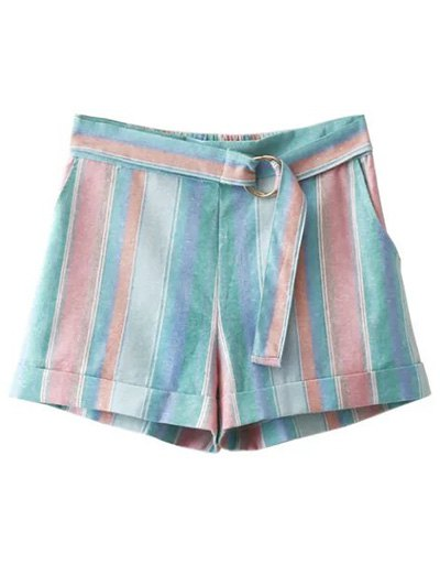 High Waist Sugar Color Striped Belted Shorts