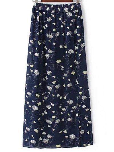 High Waist A-Line Tiny Floral Print High Slit Skirt