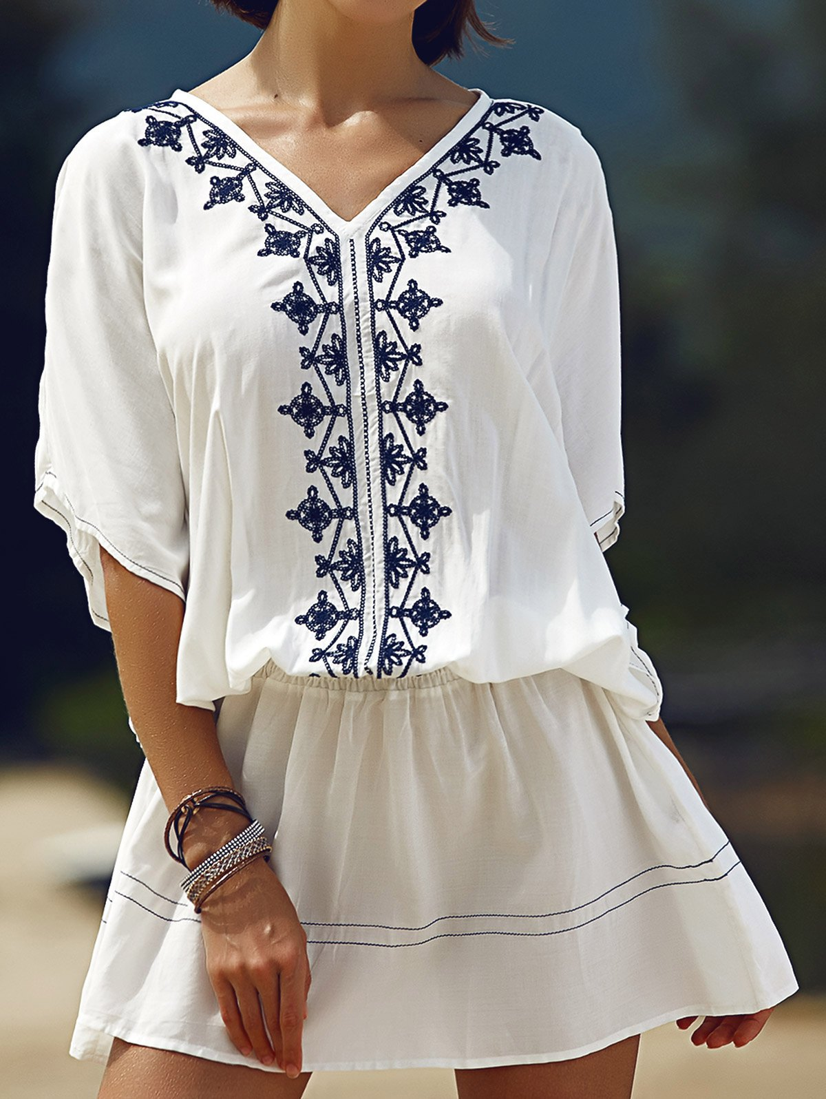 Batwing Sleeve Embroidered Dress
