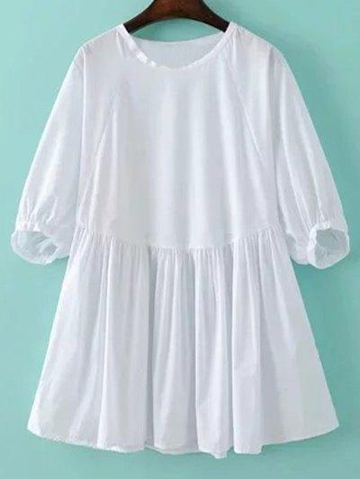 Round Neck Half Sleeve White Dress