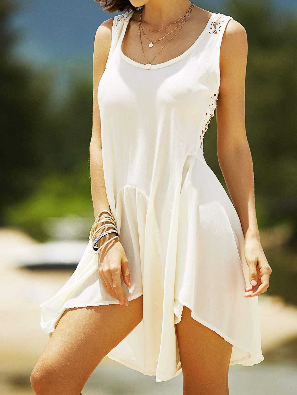 Lace Back Sleeveless Irregular Dress