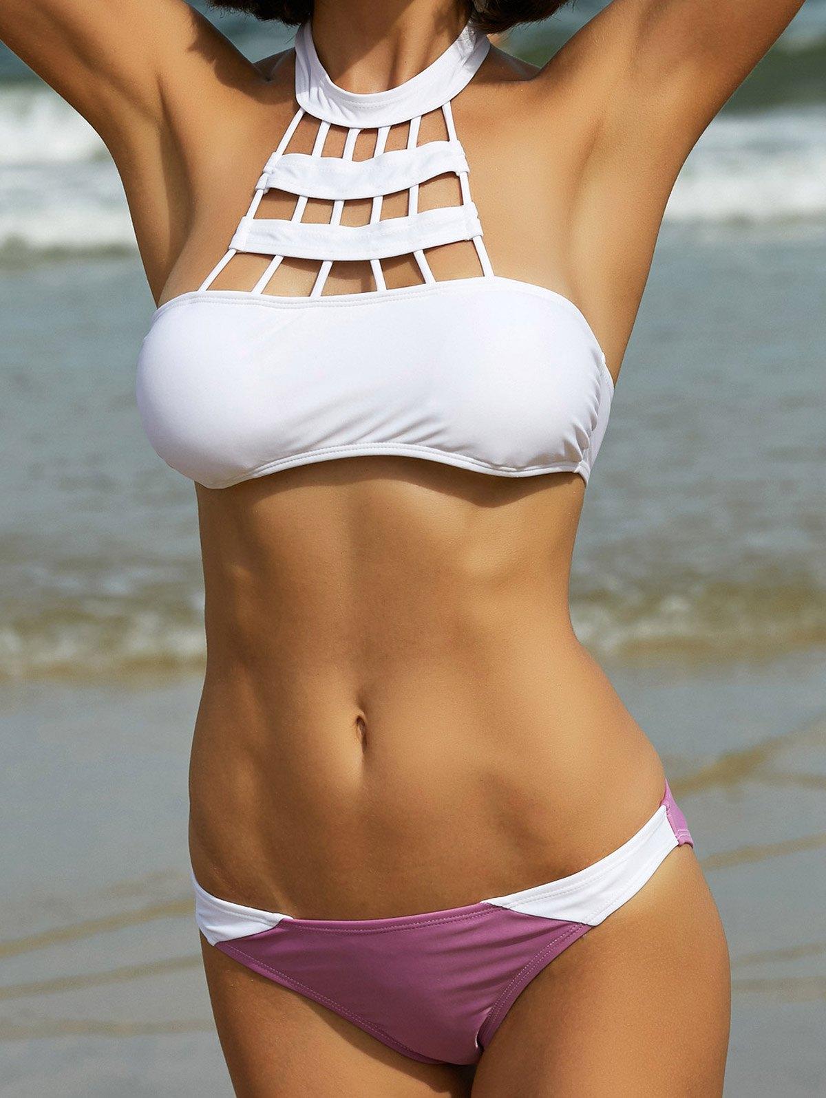 High Neck Hit Color Bikini Set