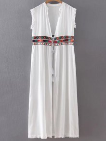Collarless Fringe Drawstring Embroidered Waistcoat - White