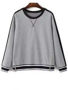 Zip Hem Gray Sweatshirt