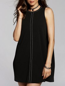 Back Cut Out Round Neck Sleeveless Straight Dress