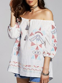 Geometric Embroidery Scoop Neck 3/4 Sleeve T-Shirt