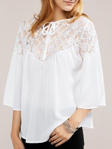 White Lace Chiffon Top