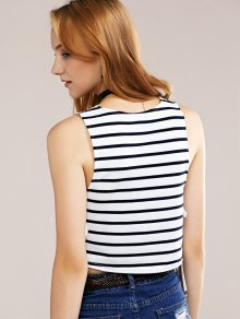 Side Lace-Up Tank Top - BLUE/WHITE S