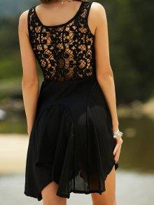 Lace Back Irregular Dress - Black