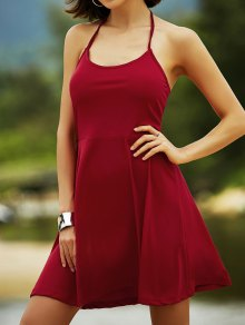 Cut Out Lace-Up Halter Sleeveless Dress - RED M
