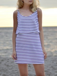 Striped Spaghetti Overlay Dress - White Xl