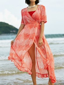 Print Ruffles Short Sleeve Dress With Cami Dress Twinset - Sweet Orange M