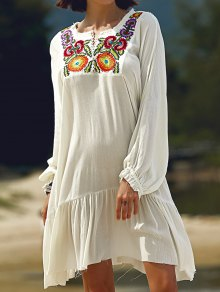 Long Sleeve Embroidery Round Neck Dress - White L