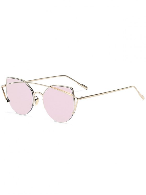 outfit Gold Crossbar Cat Eye Mirrored Sunglasses - PINK