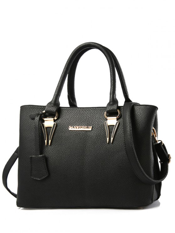 outfits Metallic Letter PU Leather Tote Bag - BLACK
