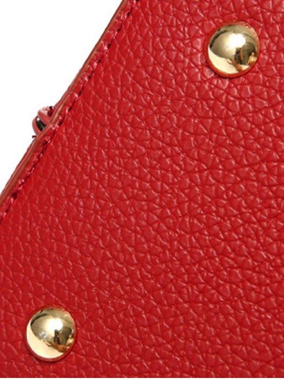Metallic Letter PU Leather Tote Bag - BLACK  Mobile