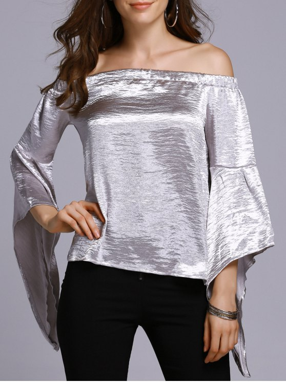 Off The Shoulder Solid Color T-Shirt - SILVER M Mobile