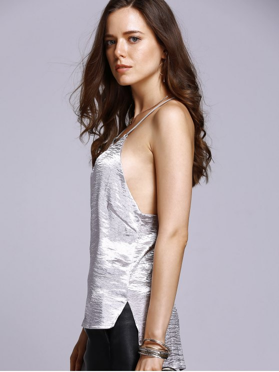 Solid Color High Low Cami Top - SILVER M Mobile
