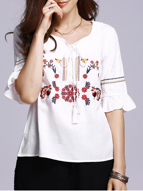 fancy Floral Embroidery Half Sleeve Blouse - WHITE M