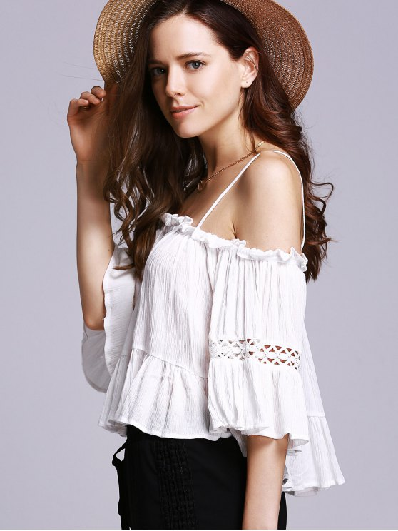 Off The Shoulder Cami White Blouse - WHITE S Mobile