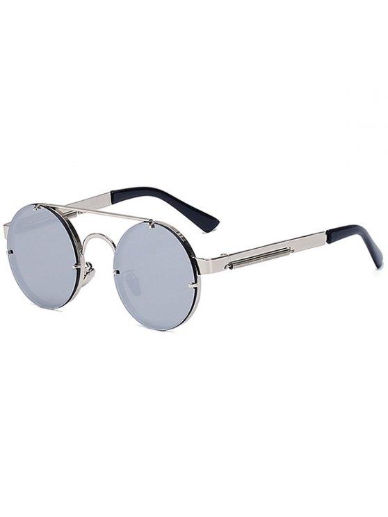 best Silver Crossbar Retro Round Mirrored Sunglasses - SILVER