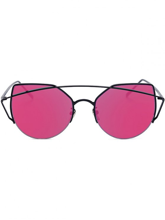hot Black Crossbar Cat Eye Mirrored Sunglasses - ROSE MADDER