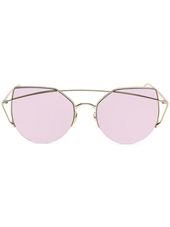 Gold Crossbar Cat Eye Mirrored Sunglasses - PINK  Mobile