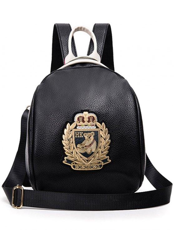 fancy Black PU Leather Applique Backpack - GOLDEN