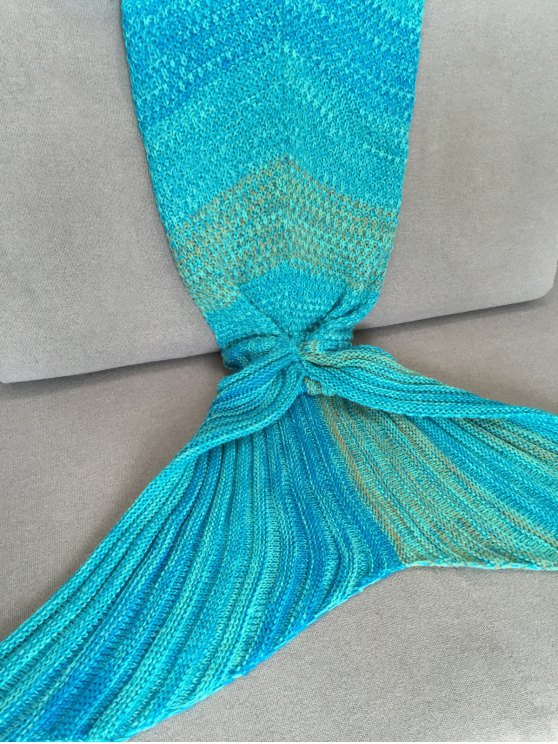Stripe Mermaid Tail Shape Blanket - LAKE BLUE  Mobile