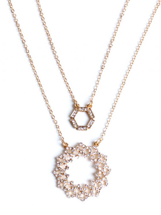 Strass Hollowed Collier Layered - Or