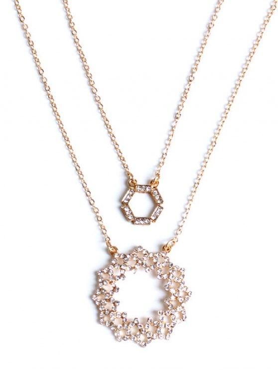 Diamantes de imitación collar acodado ahuecada - Dorado