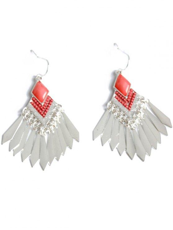 Faux Gem Fringe Earrings - SILVER  Mobile