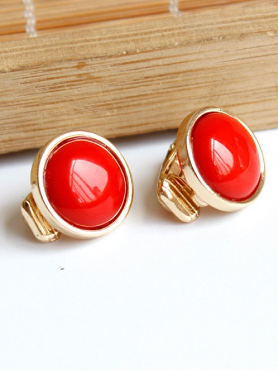 Red Round Clip Earrings - RED  Mobile