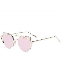 Gold Crossbar Cat Eye Mirrored Sunglasses - Pink