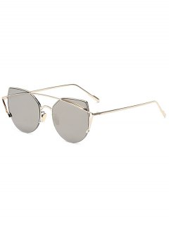 Gold Crossbar Cat Eye Mirrored Sunglasses - Silver