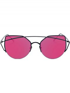 Black Crossbar Cat Eye Mirrored Sunglasses - Rose Madder