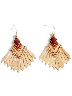 Faux Gem Fringe Earrings - Golden