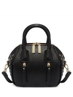 PU Leather Eyelet Zips Tote Bag - Black