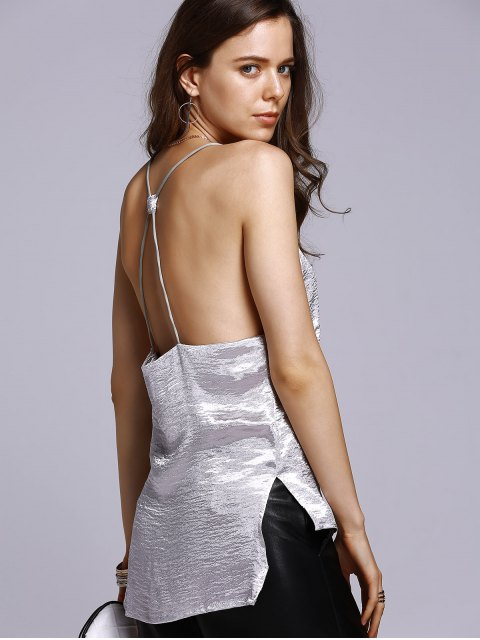 buy Solid Color High Low Cami Top - SILVER M Mobile
