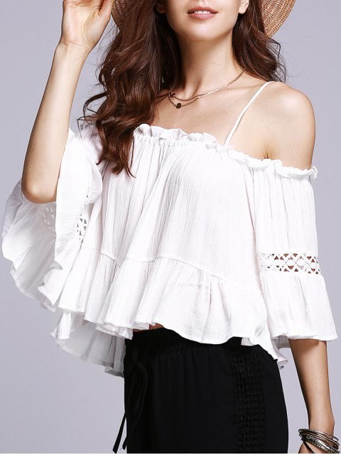 buy Off The Shoulder Cami White Blouse - WHITE S Mobile